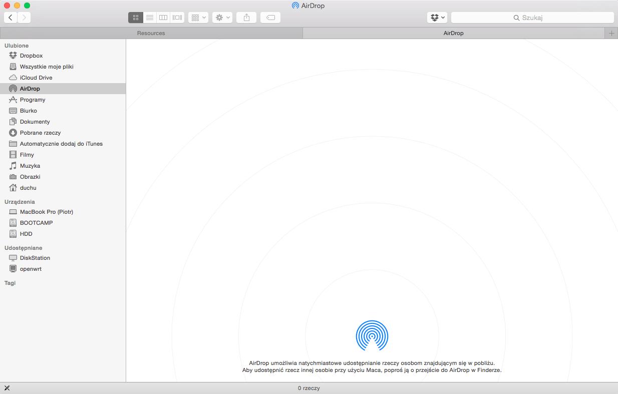 Działający AirDrop na OS X