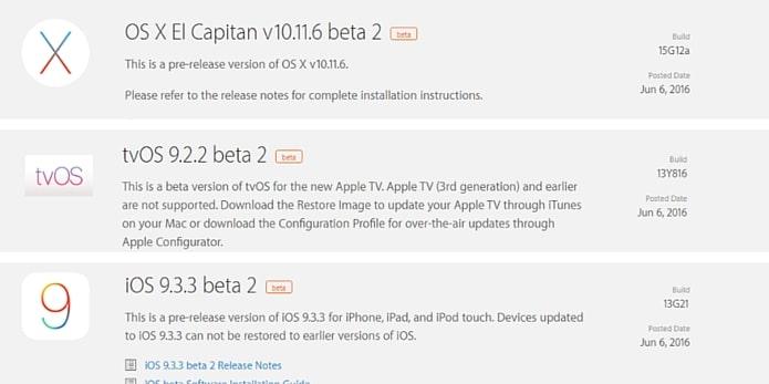 Aktualizacje iOS 9.3.3 beta 2 - tvOS 9.2.2 beta 2 - OS X 10.11.6 beta 2