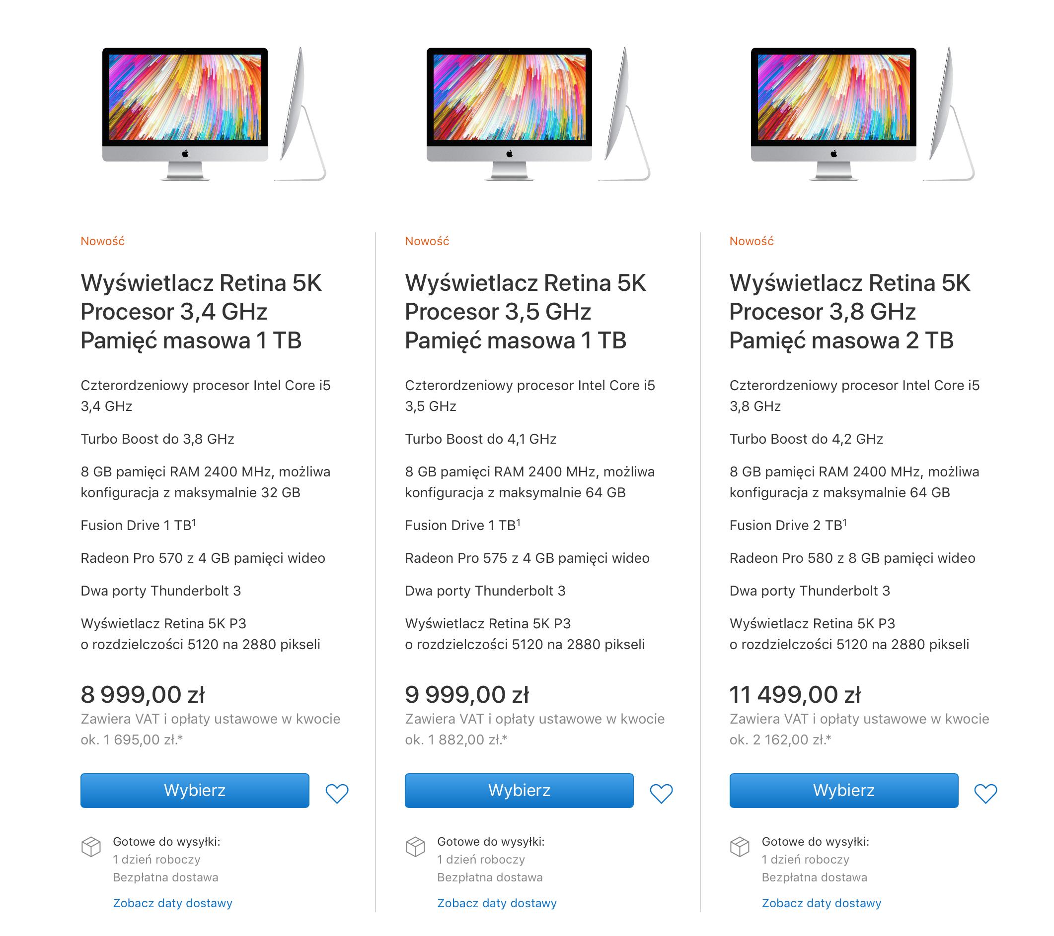 iMac 27 2017 ceny