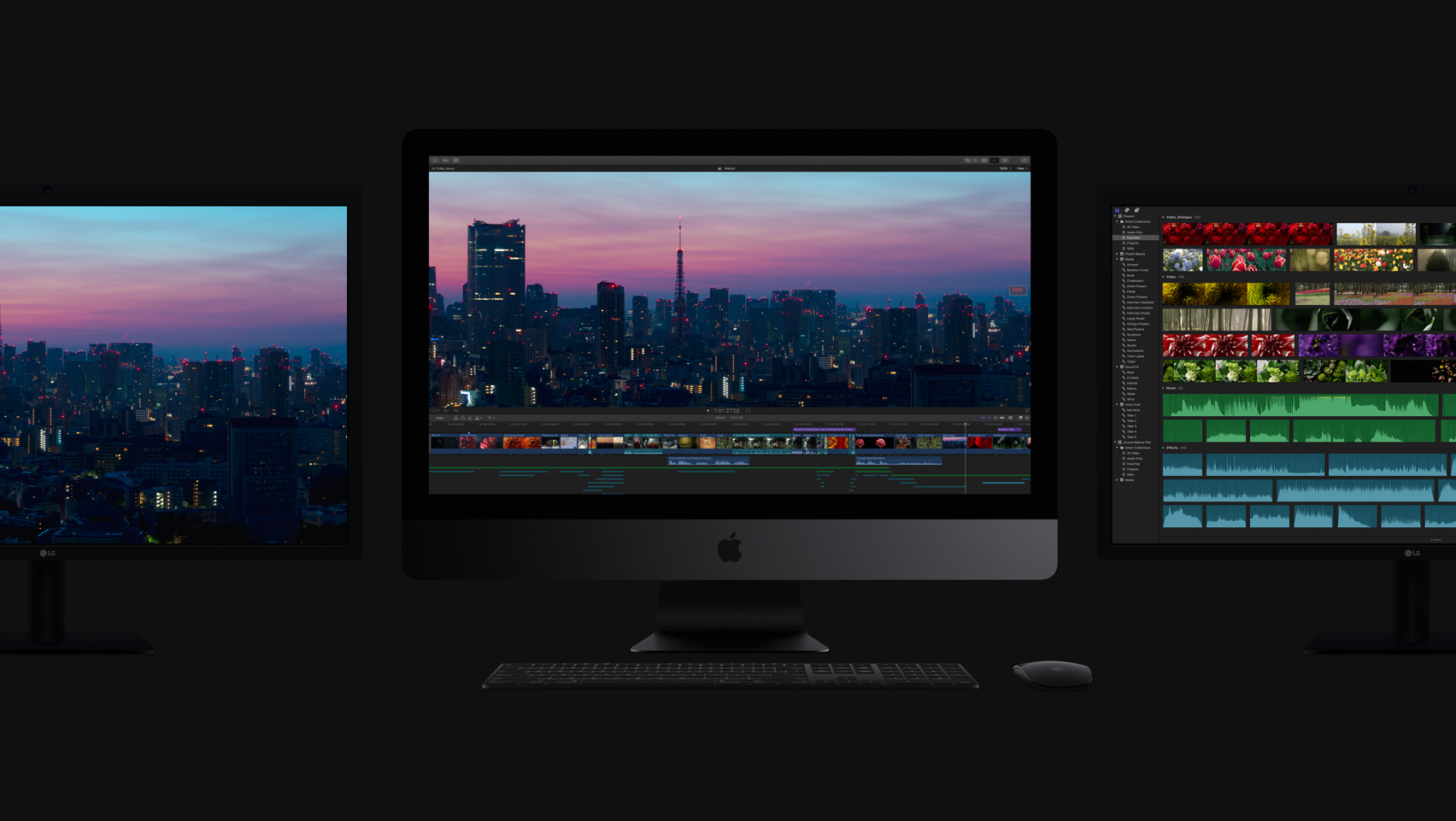 new 2017 imac three monitors dark grey